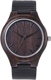 ساعة خشب نسائية من GoolRC ساعة تناظرية كوارتز مصنوعة من خشب الصندل مع حزام جلدي خفيف الوزن ساعات كاجوال كلاسيكية