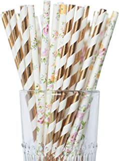 Twigs & Twirls Rose Gold and Floral Paper Straws, Pack of 50 Party Straws Bridal Shower Straws, Baby Shower Straws, Rose Gold Party Decor Tea Party Decorations Disposable Paper Straws Floral