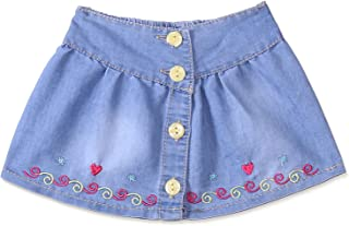 Master Jeans Front Buttons Contrast Stitch Detail Skirt for Girls
