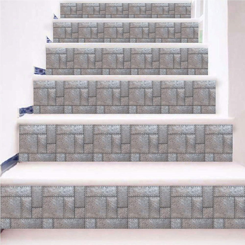 6PCS Home Stair Treads,Imitation Iron Creative Stair Stickers,Non Slip Carpet Step mats, Adhesive Carpet Stair Carpet Tread Mats(18x100cm)