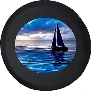 Spare Tire Cover Sailboat Ocean Blue Sea Adventure Offroad Fun 4x4 Lifted fits SUV or Camper RV Accessories Black Size 32 Inch