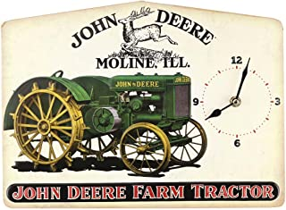 Open Road Brands John DeereVintage Tractor ClockEmbossed Metal Wall Art Sign - an Officially Licensed Product Great Addition to Add What You Love to Your Home/Garage Decor