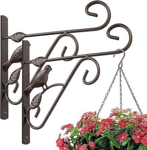 Amagabeli 2 Pack Hanging Plants Brackets 10'' Wall Planter Hooks Hangers Flower Pot Bird Feeder Wind Chimes Lanterns ...