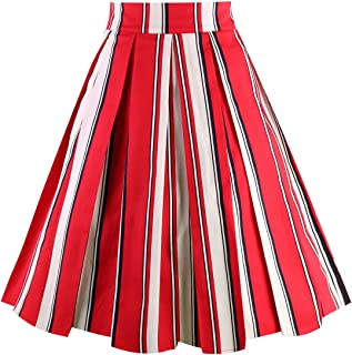 Vintage Pleated Skirt Floral A-line Printed Midi Skirts with Pockets