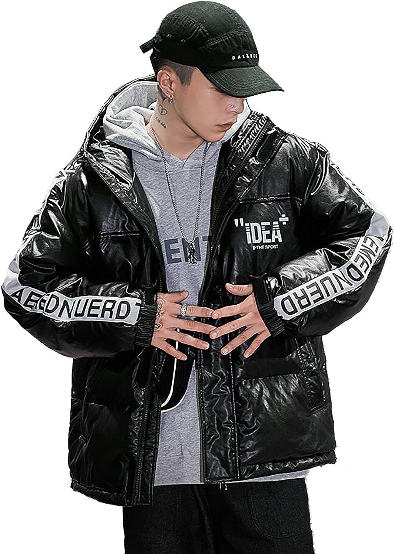 LZJDS Men's Winter Hooded Puffer Parka Winter Short Zipper Closure Puffy Jacket Insulated Outwear