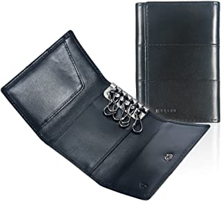 Tri-fold Key Wallet/Holder [Full-grain Leather] 6 Hooks & 2 Card Slot