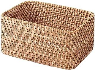MUJI Panier Rectangulaire en Rotin Empilable Avec Couvercle, 26 cm Largeur x 18 cm Profondeur x 12 cm Hauteur