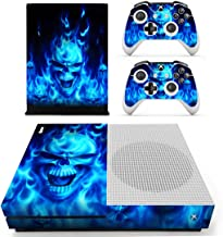 UUShop Protective Vinyl Skin Stickers for Microsoft Xbox One S with Two Free Wireless Controller Decals Blue Flame Fire Skull