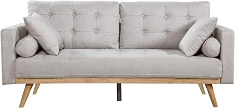 Casa Andrea Milano llc Mid Century Modern Tufted Upholstered Fabric Sofa Couch, Light Grey