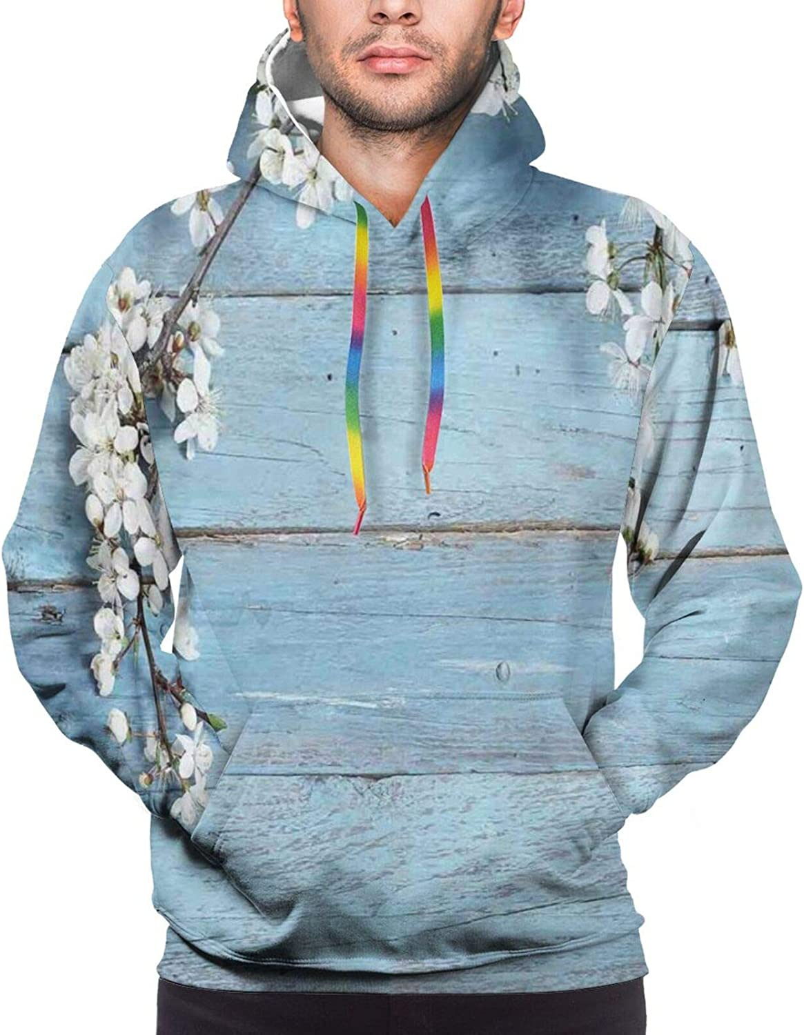 Men's Hoodies Sweatshirts,A Branch with Blooming Spring Flowers On Wooden Fragility Symbol of Spring,Small