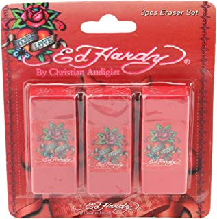 Ed Hardy 3 Pack Kids School Teacher Supplies Stationary Rubber Pencil Erasers Pack Set - Esme Eternal Love Red