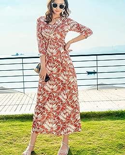 ABDKJAHSDK Summer New V-Neck Bohemian Style Four-Point Sleeve Floral Print Ladies Long Pointed Beach Dress