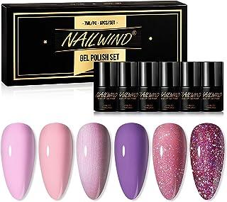 Nailwind Gel Nail Polish Set,6pcs Pink Glitter Colors Series Nail Art Decoration Soak Off UV LED Nail Polish