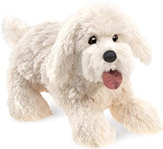 Folkmanis Panting Dog Hand Puppet Plush, White