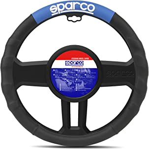Sparco Steering Wheel Cover, SPC1111AZ, H37.2 x W37.4 x D4.4 cm, Black/Blue