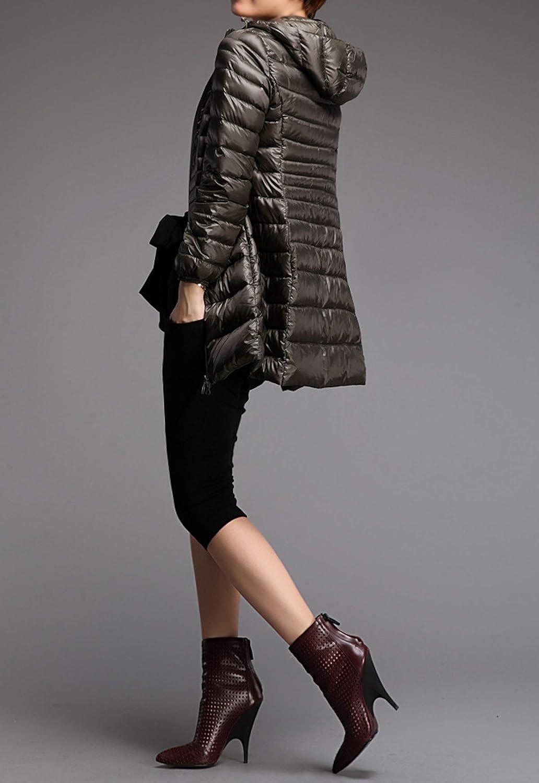 Elonglin Damen Daunenjacke Ultraleichter Mittellange Kapuze Winter Mantel Plus Size Armee-grün