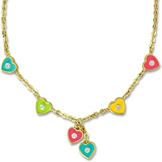 Heart Necklace for Kids | Sweet Jewelry for Kids | Girls Necklace with Six Heart Charms for Girls Jewelry Sets | Best Gifts for Girls Gold Plated Charm Necklace