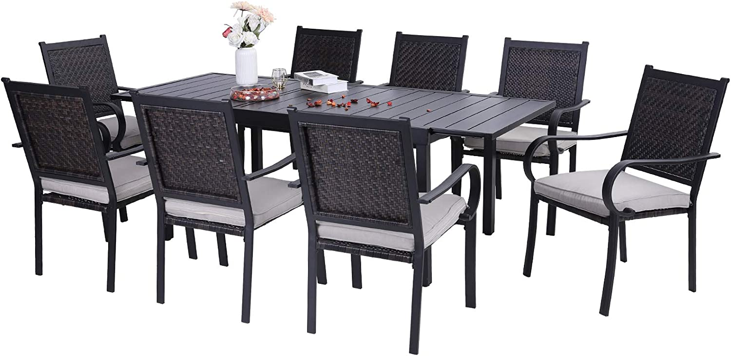 Sophia & William Outdoor Dining Set Rattan 9 Pieces Patio Wicker Furniture Set with 1 Expandable Metal Table and 8 Rattan Dining Chairs with Cushion for Patio Lawn Garden Backyard Weather Resistant