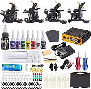 HAWINK Tattoo Complete Tattoo Kit 4 Pro Machinegeweren 8 Inkten Voeding Voetpedaal Naalden Grips Tips Draagtassen TK-HW4002