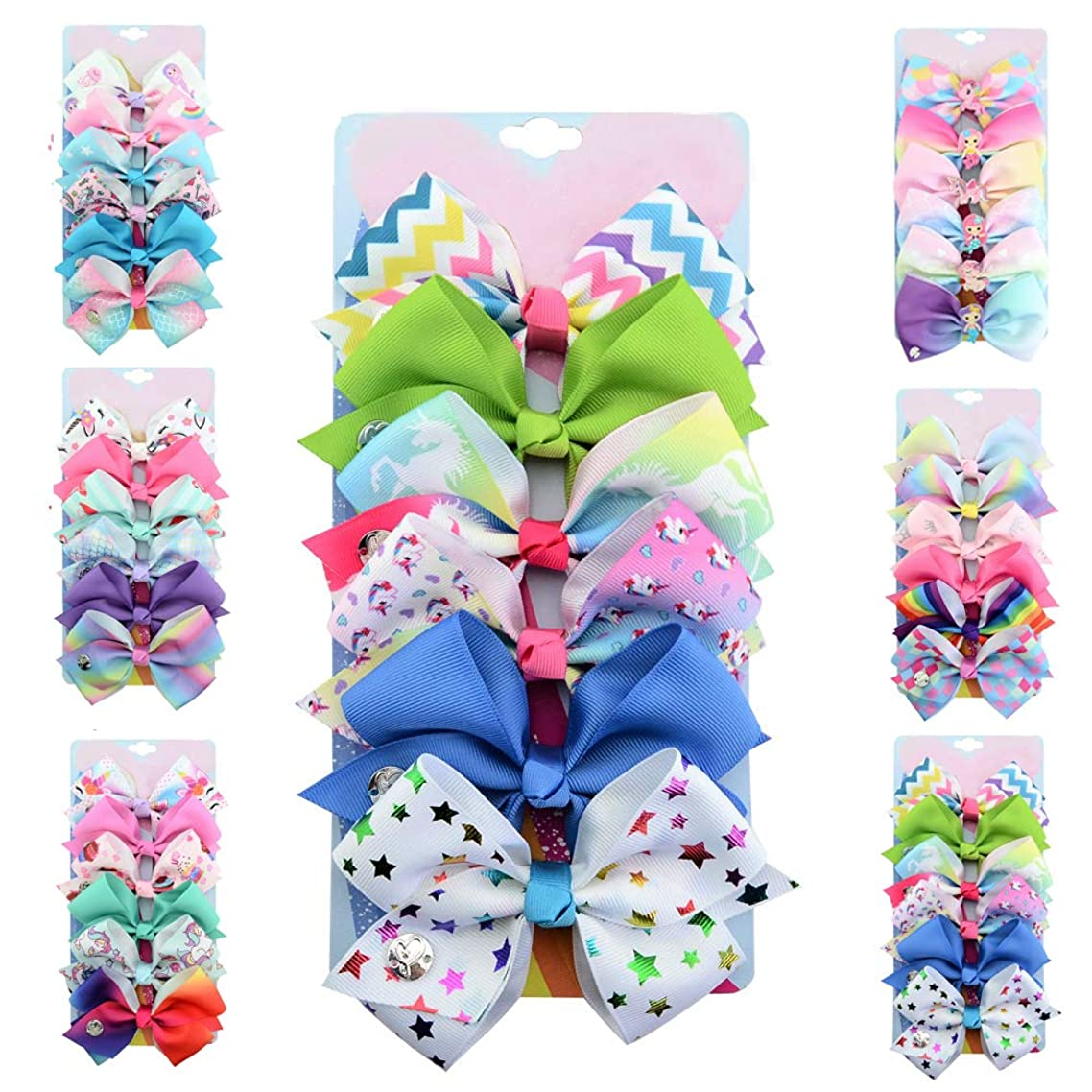 [6-Pack] 5 Inch Cute Mermaid Unicorn Rainbow Hair Bows Clip Gift Bundle for Girls Toddlers Kids (Star Series)
