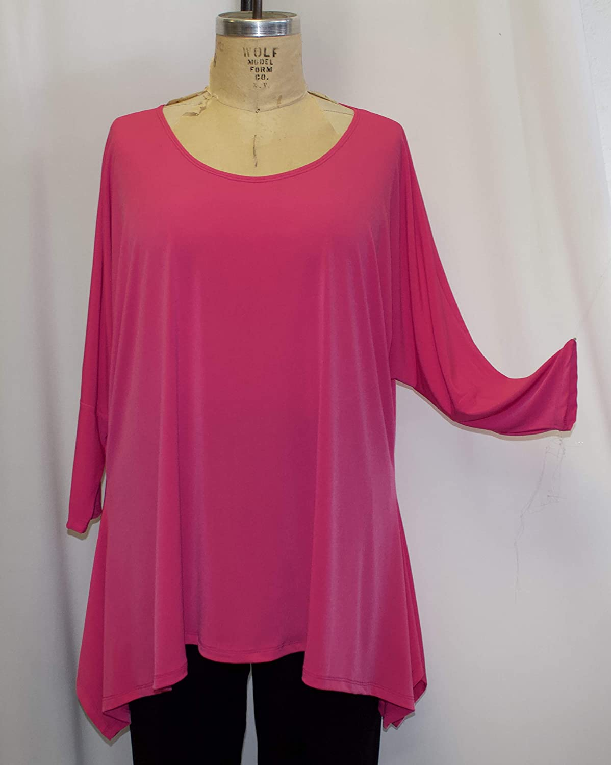 Drape side Plus Size New life Tunic Top Polyest Knit Spasm price Pink Candy Traveler