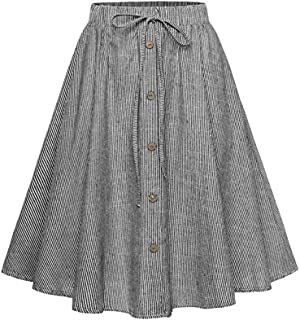 Allonly Women's A-Line High Waisted Button Front Drawstring Pleated Midi Skirt with Elastic Waist Knee Length