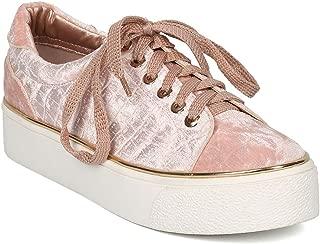 Alrisco Women Velvet Lace Up Low Top Creeper Sneaker HC52