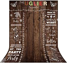 Allenjoy 5x7ft Ugly Sweater Rustic Wood Backdrop Supplies Winter Tacky Holiday Family Party Chalkboard Celebration Festive Christmas Happy New Year Decorations Background Photoshoot Photo Booth Props