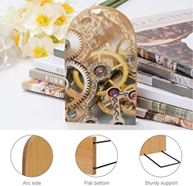 2 Pcs Wood Bookends Watch Mechanism Clock Book Ends,Decorative Book Ends for Holding Books/Cookbooks/DVDs/Movices-Retro