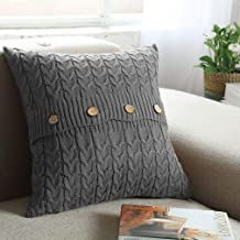 NVEOP Cotton Knitted Cushion Cover, Soft & Cozy Decorative Cushion Cover Case for 20x 20 Throw Pillow(Cover Only, Grey)