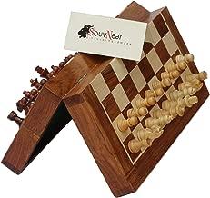 """مجموعة الشطرنج الخشبية من SouvNear 10. 5 سم - لوح شطرنج فاخر ممغنط صناعة يدوية فاخرة قابلة للطي - لعبة شطرنج خشبية للسفر مع مساحة تخزين داخلية, 10x10"""""""