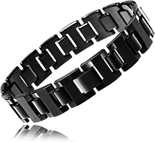 URBAN JEWELRY Stylish Black Solid Tungsten 8.3 Inches Link Bracelet for Men (Shiny)