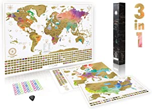 Scratch Off Maps Gift Set (World, USA, and Europe)   3 Premium Watercolor Scratch Off Maps   Personalized Travel Tracker Posters with Flags and Beautiful Watercolors   Manufactured in The EU