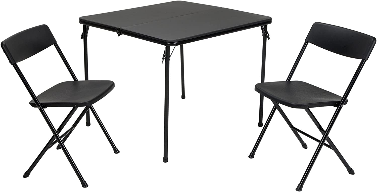Cosco Products 37334BLK 1E 3 Piece Indoor Outdoor Center Fold Table and 2 Chairs Tailgate Set, Black