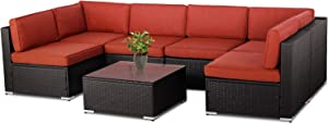 Patiomore 7 Pieces Outdoor Patio Furniture Set, Black Brown Wicker Patio Sectional Sofa Set, Outdoor Couch with Orange Red Cushion and Tempered Glass Table