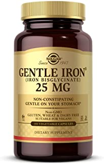 Solgar Gentle Iron, 180 Vegetable Capsules - Ideal for Sensitive Stomachs - Non-Constipating  - Red Blood Cell Supplement ...