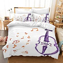 KANAKAL Music Duvet Cover Set Musical Notes Instrument Violin Cello in Watercolors Style White Backdrop Print Design Bedding Set King Size Duvet Cover with 2 Matching Pillow Shams Purple Red