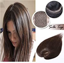 Silk Base Clip in Topper for Women Medium Brown Human Hair Crown Toupee Wiglet Hand-made Top Hairpieces Middle Part with Thinning Hair(6