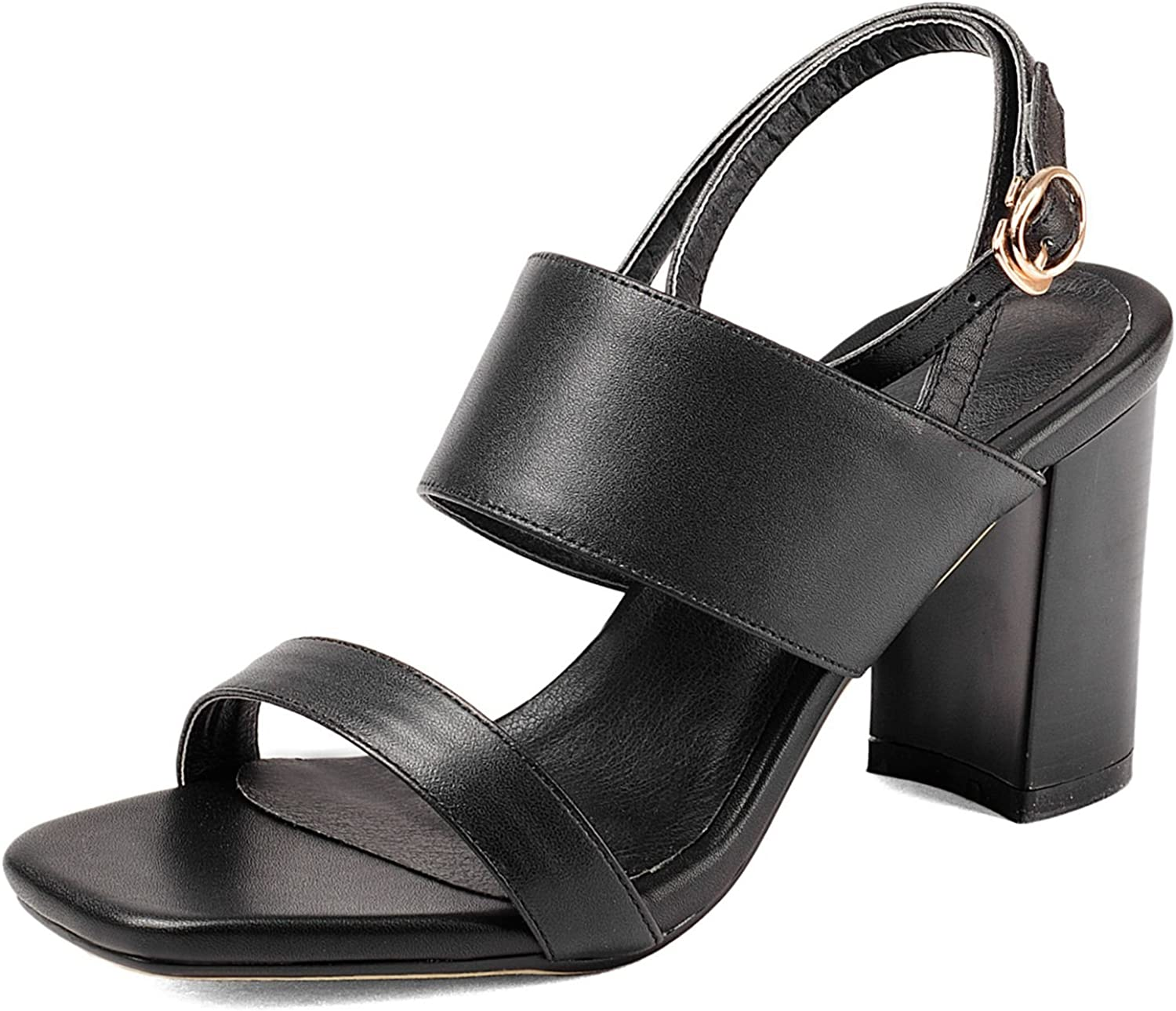 DoraTasia Women's Leather Square Toe Ankle Strap Buckle Open Toe Sandals Summer shoes
