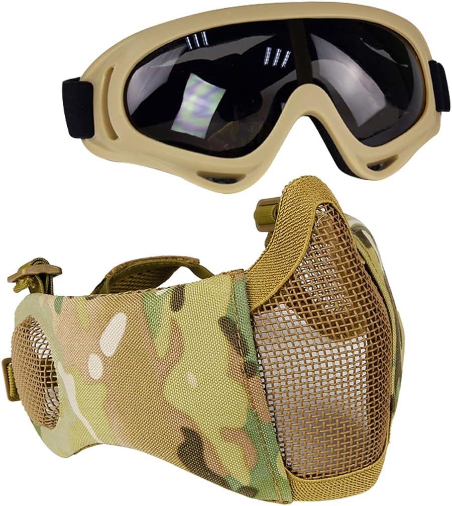 AOUTACC Airsoft - Juego de máscaras de malla de media cara con protección para los oídos y gafas para CS/caza/paintball/tiroteo