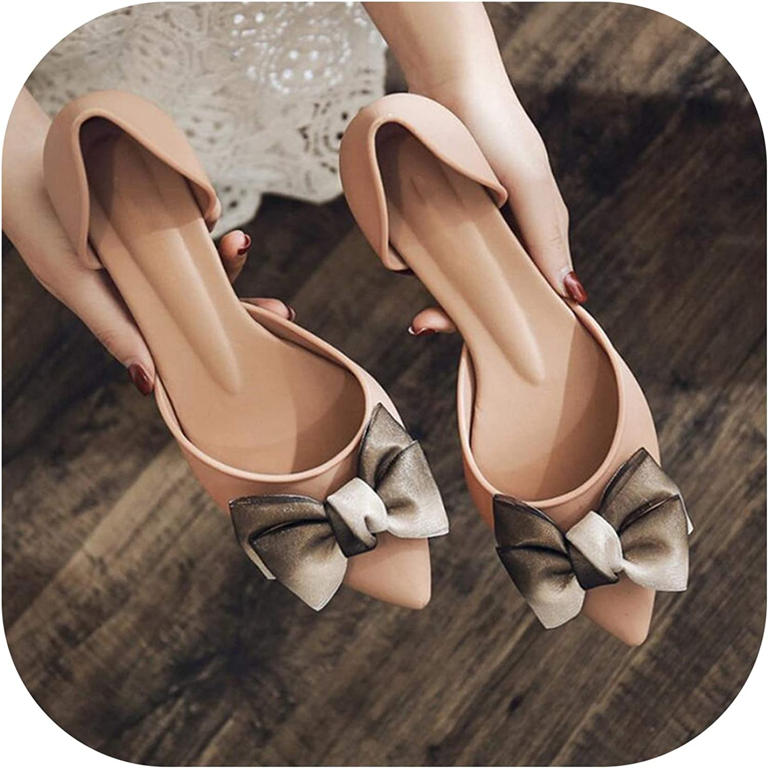 Betterluse Shallow Flats Women Summer Comfortable Non-Slip Mid Heel Sandals Pointed Toe shoes Woman Bowknot shoes