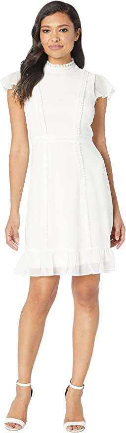 Textured Chiffon Ruffle Fit And Flare Dress