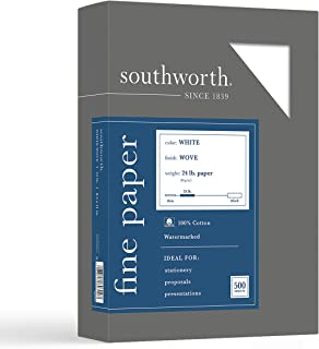 "Southworth 100% Cotton Business Paper, 8.5"" x 11"", 24 lb/90 gsm, Wove Finish, White, 500 Sheets - Packaging May Vary (14C)"