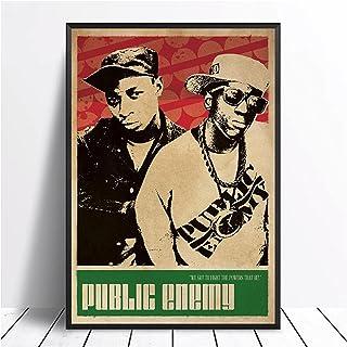 IUYBHRYI Public Enemy Music Singer Poster Hip Hop Rap Music Star Poster Wall Art Canvas Painting Home Decor-60x80cm No Frame