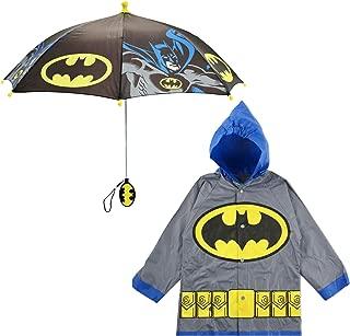 DC Comics Little Boys Batman or Superman Slicker and Umbrella Rainwear Set, Grey Batman