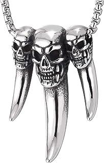 COOLSTEELANDBEYOND Dragon Pendentif avec Zircone Cubique Noir et Cordon Silicone Acier Inoxydable Collier Pendentif Homme Gar/çons