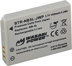 Wasabi Power Battery for Canon NB-5L and Canon PowerShot S100, S110, SD700 IS, SD790 IS, SD800 IS, SD850 IS, SD870 IS, SD880 IS, SD890 IS, SD900 IS, SD950 IS, SD970 IS, SD990 IS, SX200 IS, SX210 IS, SX220 IS, SX230 HS