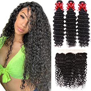 Sponsored Ad - Brazilian Hair Bundles with Frontal Deep Wave Bundles with Frontal Virgin Human Hair Ear to Ear Lace Fronta...