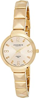 Akribos Xxiv Women's Yellow Gold Diamond Dial Stainless Steel Band Watch - Ak793Yg, Analog Display, Swiss Quartz Movement