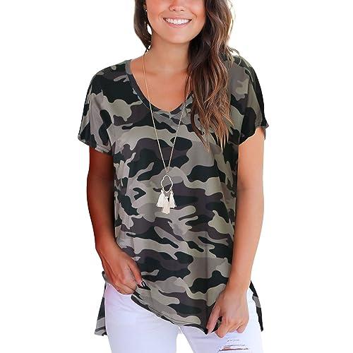 0407f39c0b Dasbayla Women s Solid Loose Short Sleeve V Neck T-Shirt Top Side Split  High Low